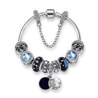Zinklegierung European Armband, mit Kristall, silberfarben plattiert, unterschiedliche Länge der Wahl & Schlangekette & für Frau & mit Strass, frei von Nickel, Blei & Kadmium, verkauft per ca. 7 ZollInch Strang