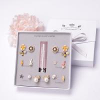 925er Sterling Silber Ohrring-Set, mit Kunststoff Perlen, plattiert, verschiedene Stile für Wahl & für Frau & mit Strass, frei von Nickel, Blei & Kadmium, 9-20mm, 7PaarePärchen/setzen, verkauft von setzen
