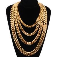 Halskette, Edelstahl, goldfarben plattiert, verschiedene Größen vorhanden & für den Menschen & mit Strass, verkauft von Strang