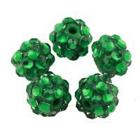 Zinklegierung Perle, mit Lehm pflastern, rund, mit Strass, grün, frei von Blei & Kadmium, 10mm, Bohrung:ca. 2mm, 100PCs/Tasche, verkauft von Tasche