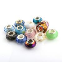 Lampwork European Perlen, mit Messing, Trommel, Platinfarbe platiniert, einadriges Kabel Messing ohne troll & facettierte, 13x8mm-15x8mm, Bohrung:ca. 5mm, 50PCs/Tasche, verkauft von Tasche