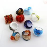 Lampwork Fingerring, Ringform, Goldsand & innen Blume, 26x22mm-26x33mm, Größe:7, 10PCs/Tasche, verkauft von Tasche