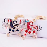 Zinklegierung Schlüsselanhänger, Hund, goldfarben plattiert, Emaille & mit Strass, keine, 68x126mm, verkauft von PC