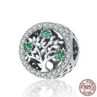 Thailand European Perlen, Baum, Micro pave Zirkonia & ohne troll & hohl, 12x12mm, Bohrung:ca. 4.5-5mm, verkauft von PC