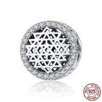 Thailand European Perlen, flache Runde, Micro pave Zirkonia & ohne troll & hohl, 12x12mm, Bohrung:ca. 4.5-5mm, verkauft von PC
