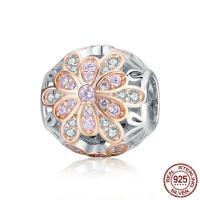 925 Sterlingsilber European Perlen, 925 Sterling Silber, Blume, plattiert, Micro pave Zirkonia & ohne troll & hohl, 11x11mm, Bohrung:ca. 4.5-5mm, verkauft von PC