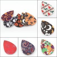 PU Leder Anhänger, Tropfen, verschiedene Muster für Wahl, 37x56x2mm, Bohrung:ca. 1mm, 50PCs/Tasche, verkauft von Tasche
