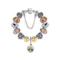 Messing European Armband, mit Lampwork & Zinklegierung, plattiert, unterschiedliche Länge der Wahl & unisex & Schlangekette & mit Strass & Goldsand, frei von Nickel, Blei & Kadmium, verkauft von Strang