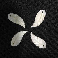 Natürliche weiße Muschel Anhänger, Blatt, 8x20mm, 100PCs/Tasche, verkauft von Tasche