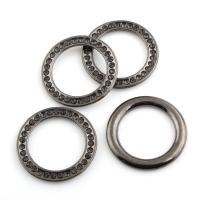 Zinklegierung Verbindungsring, Kreisring, metallschwarz plattiert, mit Strass, frei von Blei & Kadmium, 27x2.5mm, Innendurchmesser:ca. 19mm, 10PCs/Tasche, verkauft von Tasche