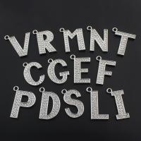 Zinklegierung Buchstaben Anhänger, Platinfarbe platiniert, verschiedene Stile für Wahl & mit Strass, frei von Blei & Kadmium, Bohrung:ca. 3mm, verkauft von PC