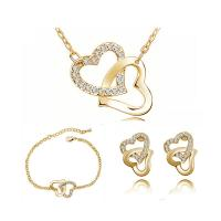 Zinklegierung Schmucksets, Armband & Halskette, Herz, plattiert, Oval-Kette & für Frau & mit Strass, keine, frei von Blei & Kadmium, 13x17mm,21x23mm, Länge:ca. 15.7 ZollInch, verkauft von setzen