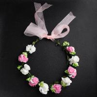 Brautkranz, Stoff, Blume, handgemacht, Koreanischen Stil & Hochzeitsgeschenk & für Frau, Rosa, Länge:ca. 19.69 ZollInch, verkauft von PC