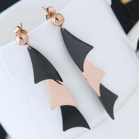 Titan Stahl Ohrring, Titanstahl, plattiert, für Frau, frei von Blei & Kadmium, 53x12mm, verkauft von Paar