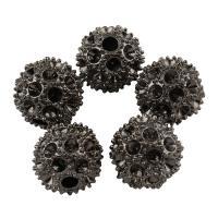 Zinklegierung Perlen Einstellung, rund, metallschwarz plattiert, frei von Blei & Kadmium, 12mm, Bohrung:ca. 2.5mm, 10PCs/Tasche, verkauft von Tasche