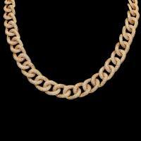 Messingkette Halskette, Messing, plattiert, unisex & Twist oval & Micro pave Zirkonia, keine, verkauft per ca. 18 ZollInch Strang