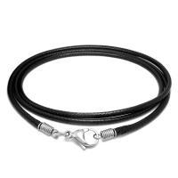 Gewachste Hanfschnur Halskette Schnur, mit Titanstahl, unterschiedliche Länge der Wahl & unisex, schwarz, verkauft von Strang