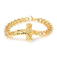 Titanstahl Armband, Kreuz, plattiert, Kandare Kette & für den Menschen, keine, 10x62mm, verkauft per ca. 8 ZollInch Strang