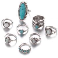 Zink-Legierungsring-Set, Zinklegierung, Fingerring, mit Glas & Harz, für Frau & Schwärzen, 16mm,17.5mm,18mm,18.5mm, Größe:5-9, ca. 8PCs/setzen, verkauft von setzen