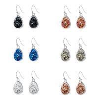 Zinklegierung Tropfen Ohrring, mit Kunststoff, silberfarben plattiert, für Frau, keine, 10x26mm, verkauft von Paar