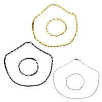 Edelstahl Schmucksets, Armband & Halskette, plattiert, Kastenkette & für Frau, keine, 7x3.5mm, 7x3.5mm, Länge:ca. 20 ZollInch, ca. 8 ZollInch, verkauft von setzen