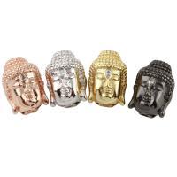 Messing Schmuckperlen, Buddha, plattiert, keine, frei von Nickel, Blei & Kadmium, 16x14x11mm, Bohrung:ca. 2mm, verkauft von PC