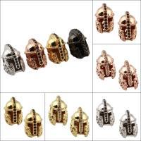 Strass Messing Perlen, Helm, plattiert, mit Strass, keine, frei von Nickel, Blei & Kadmium, 10x16x12mm, Bohrung:ca. 1.5mm, verkauft von PC