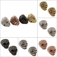 Strass Messing Perlen, Schädel, plattiert, mit Strass, keine, frei von Nickel, Blei & Kadmium, 10x12x11mm, Bohrung:ca. 1.5mm, verkauft von PC