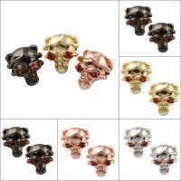 Strass Messing Perlen, Schädel, plattiert, mit Strass, keine, frei von Nickel, Blei & Kadmium, 10x11x8mm, Bohrung:ca. 2mm, verkauft von PC