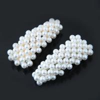 Klick Klack Spange, Zinklegierung, mit ABS-Kunststoff-Perlen, plattiert, für Frau, keine, frei von Blei & Kadmium, 70x29mm, verkauft von PC