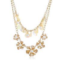 Zinklegierung Schmuck Halskette, mit Muschel & Kunststoff Perlen, Blume, goldfarben plattiert, mehrschichtig & Twist oval & für Frau, keine, frei von Nickel, Blei & Kadmium, 38x38mm, verkauft per ca. 20 ZollInch Strang