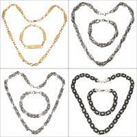 Edelstahl Schmucksets, Armband & Halskette, plattiert, unisex & gemischt, 6-16mm, Länge:ca. 18-28 ZollInch, ca. 7.5-9 ZollInch, 10SetsSatz/Menge, verkauft von Menge