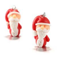 Zinklegierung Tropfen Ohrring, mit Polymer Ton, Weihnachtsmann, silberfarben plattiert, für Frau, frei von Nickel, Blei & Kadmium, 15x48mm, verkauft von Paar