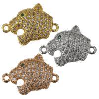 Messing Schmuck Verbinder, Leopard, plattiert, Micro pave Zirkonia & 1/1-Schleife, keine, 20x15x4.50mm, Bohrung:ca. 1.5mm, verkauft von PC
