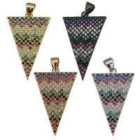 Befestigter Zirkonia Messing Anhänger, Dreieck, plattiert, Micro pave Zirkonia, keine, 18x29x2mm, Bohrung:ca. 3.5mm, verkauft von PC