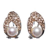 Messing Ohrstecker, mit Perlen, Messing Hebel Rückseiten Ohrring Haken, Tropfen, Platinfarbe platiniert, für Frau & mit Strass, frei von Nickel, Blei & Kadmium, 8-9mm,13x19mm, verkauft von Paar