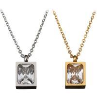 Edelstahl Schmuck Halskette, mit Kristall, mit Verlängerungskettchen von 2Inch, Rechteck, plattiert, unisex & Oval-Kette & facettierte, keine, 9x15mm, 1mm, verkauft per ca. 18 ZollInch Strang