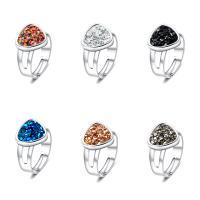 Zinklegierung Manschette Fingerring, mit Kunststoff, silberfarben plattiert, einstellbar & für Frau, keine, 17mm, Größe:7, verkauft von PC