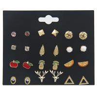 Zinklegierung Ohrstecker Set, goldfarben plattiert, hypoallergenic & für Frau & Emaille, frei von Nickel, Blei & Kadmium, 5mm, 7mm, 9mm, 10mm, 12PaarePärchen/Menge, verkauft von Menge