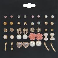 Zinklegierung Ohrring-Set, mit Harz & Kunststoff Perlen, goldfarben plattiert, für Frau & Emaille & mit Strass, frei von Nickel, Blei & Kadmium, 4mm, 5mm, 7mm, 10mm, 13mm, 20PaarePärchen/Menge, verkauft von Menge