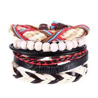 PU Leder Armband-Set, mit Hanfgarn & Holz, handgemacht, unisex & einstellbar & 4-Strang, Länge:ca. 7 ZollInch, 4SträngeStrang/Menge, verkauft von Menge