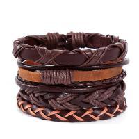 PU Leder Armband-Set, mit Hanfgarn, handgemacht, unisex & einstellbar & 4-Strang, keine, Länge:ca. 7 ZollInch, 4SträngeStrang/Menge, verkauft von Menge
