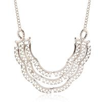 Zinklegierung Schmuck Halskette, mit Verlängerungskettchen von 5cm, plattiert, unisex & Twist oval, stumpfnattes Silber, frei von Blei & Kadmium, verkauft per ca. 17.7 ZollInch Strang