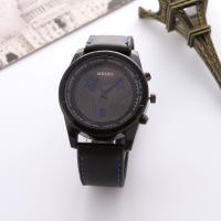Herren Armbanduhr, Zinklegierung, mit PU Leder & Glas, für den Menschen, keine, frei von Nickel, Blei & Kadmium, 40mm, Länge:ca. 9.5 ZollInch, 2PCs/Menge, verkauft von Menge