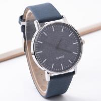 Damen Armbanduhr, Zinklegierung, mit PU Leder & Glas, silberfarben plattiert, für Frau, keine, frei von Nickel, Blei & Kadmium, 40mm, Länge:ca. 9.5 ZollInch, 2PCs/Menge, verkauft von Menge