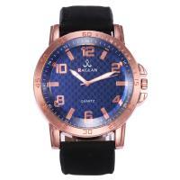 Herren Armbanduhr, Zinklegierung, mit PU Leder & Glas & Edelstahl, Rósegold-Farbe plattiert, für den Menschen, keine, frei von Nickel, Blei & Kadmium, 50mm, 24mm, Länge:ca. 10.4 ZollInch, verkauft von PC