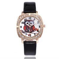 Damen Armbanduhr, PU Leder, mit Zinklegierung Zifferblatt & Glas, plattiert, für Frau & mit Strass, keine, frei von Nickel, Blei & Kadmium, 33mm, 15mm, Länge:ca. 10 ZollInch, verkauft von PC