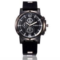 Herren Armbanduhr, Silikon, mit Zinklegierung Zifferblatt & Glas, plattiert, für den Menschen, keine, frei von Nickel, Blei & Kadmium, 47mm, 24mm, Länge:ca. 10.5 ZollInch, verkauft von PC