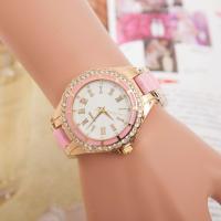 Damen Armbanduhr, Kunststoff, mit Zinklegierung Zifferblatt & Glas, plattiert, für Frau & mit Strass, keine, frei von Nickel, Blei & Kadmium, 35mm, 20mm, Länge:ca. 9.5 ZollInch, verkauft von PC