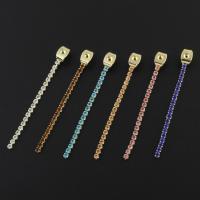 Messing Ohrring Stecker, goldfarben plattiert, Micro pave Zirkonia, keine, frei von Nickel, Blei & Kadmium, 4x46x3mm, Bohrung:ca. 1mm, verkauft von PC